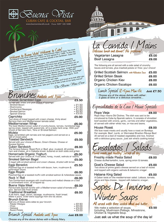 Buena vista cafe menu alex holt this consisted of custom illustrations designs for flyers business cards and menus reheart Image collections
